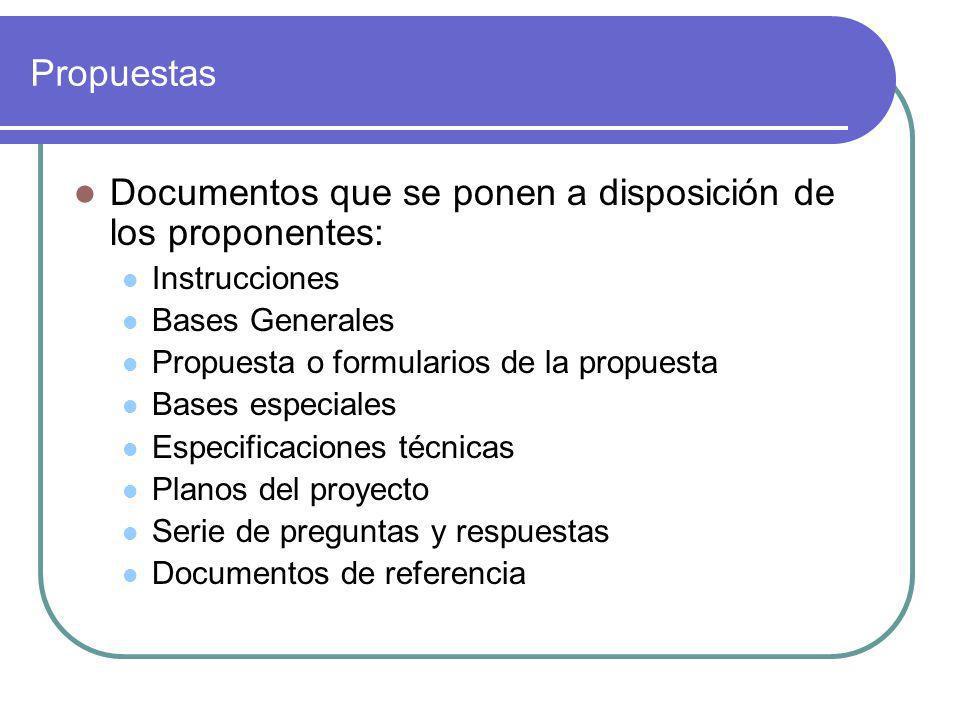 Documentos que se ponen a disposición de los proponentes: