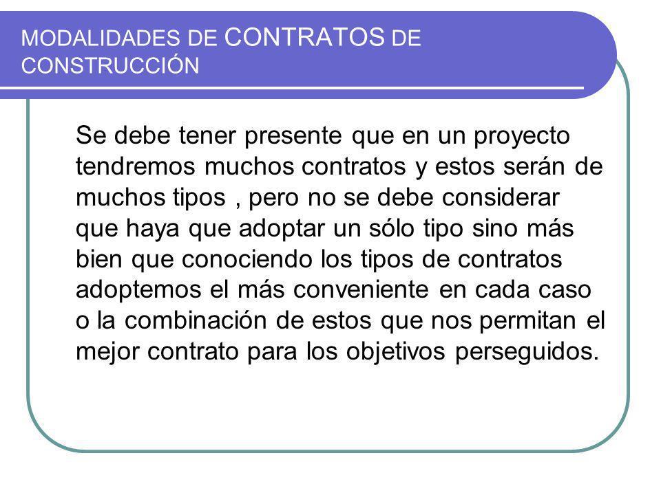 MODALIDADES DE CONTRATOS DE CONSTRUCCIÓN