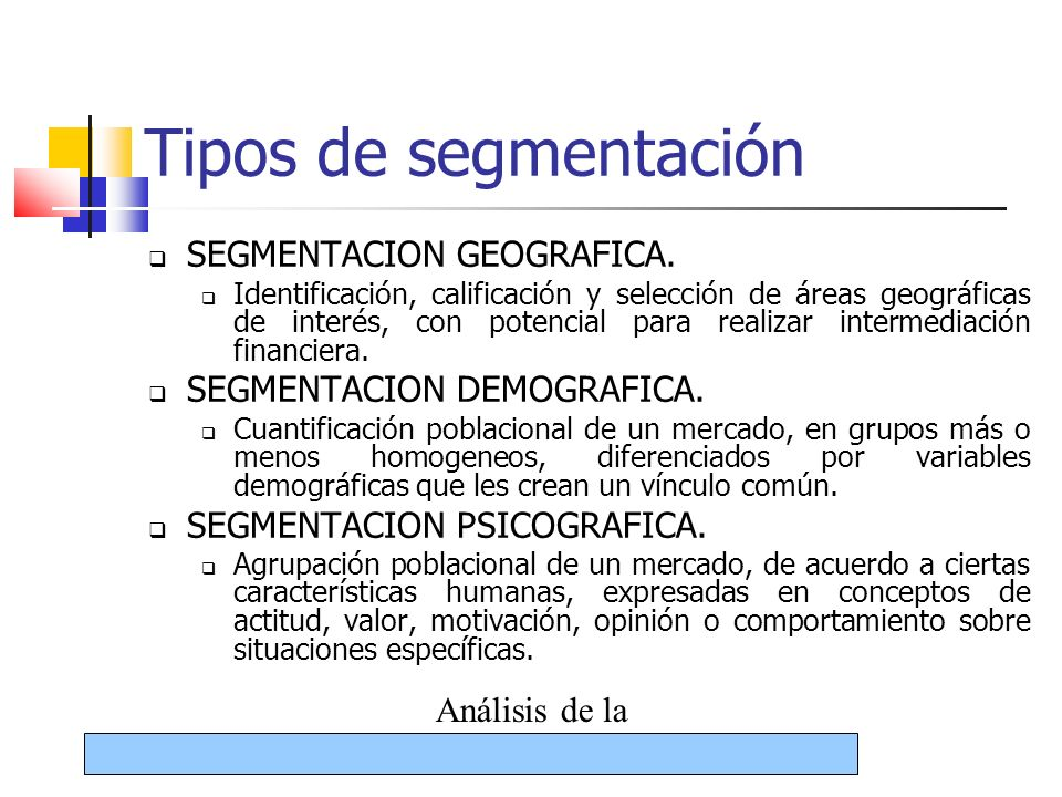 Tipos de segmentación SEGMENTACION GEOGRAFICA.