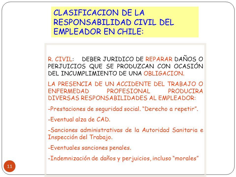 CLASIFICACION DE LA RESPONSABILIDAD CIVIL DEL EMPLEADOR EN CHILE: