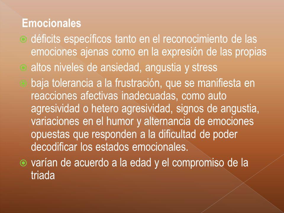 Emocionales déficits específicos tanto en el reconocimiento de las emociones ajenas como en la expresión de las propias.