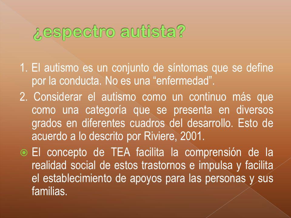 ¿espectro autista 1. El autismo es un conjunto de síntomas que se define por la conducta. No es una enfermedad .