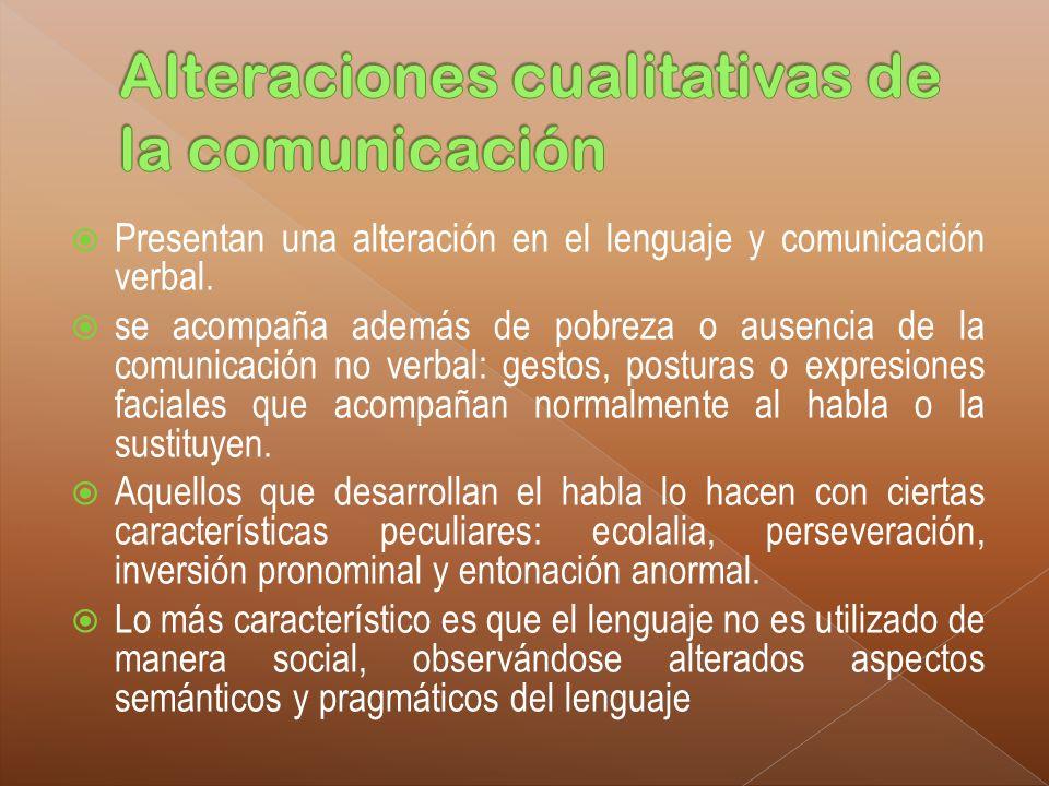 Alteraciones cualitativas de la comunicación