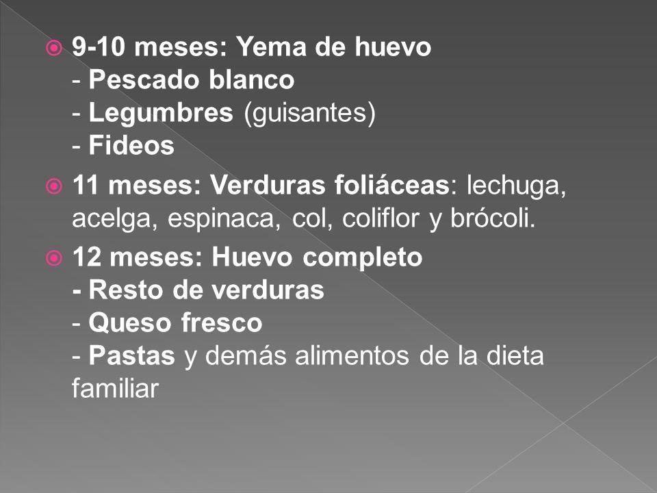 9-10 meses: Yema de huevo - Pescado blanco - Legumbres (guisantes) - Fideos