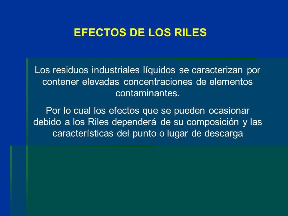 EFECTOS DE LOS RILES Los residuos industriales líquidos se caracterizan por contener elevadas concentraciones de elementos contaminantes.