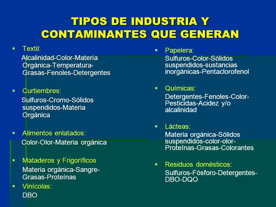 TIPOS DE INDUSTRIA Y CONTAMINANTES QUE GENERAN