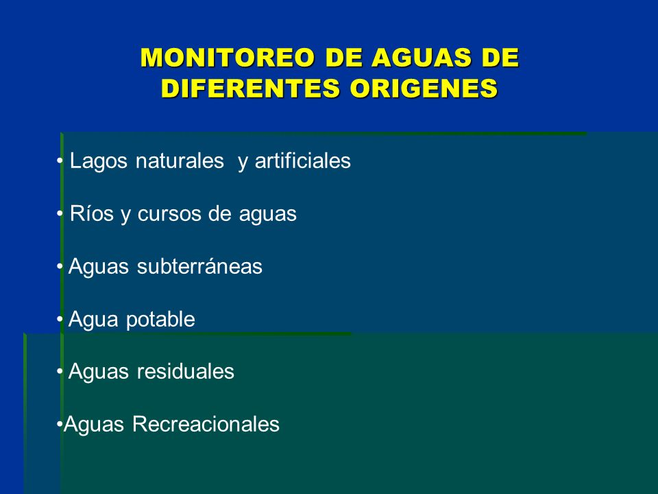 MONITOREO DE AGUAS DE DIFERENTES ORIGENES