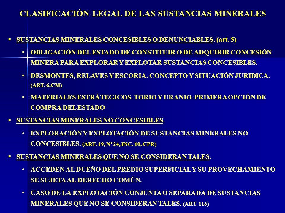 CLASIFICACIÓN LEGAL DE LAS SUSTANCIAS MINERALES