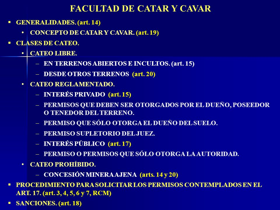 FACULTAD DE CATAR Y CAVAR