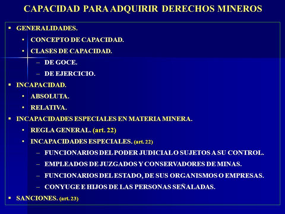 CAPACIDAD PARA ADQUIRIR DERECHOS MINEROS
