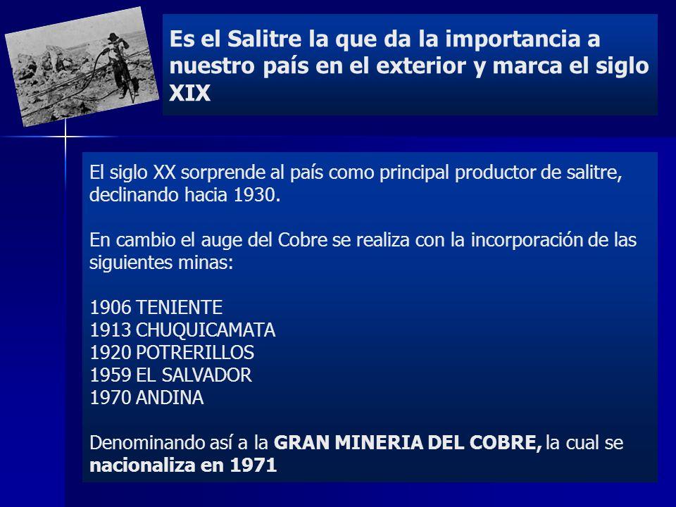 Es el Salitre la que da la importancia a nuestro país en el exterior y marca el siglo XIX