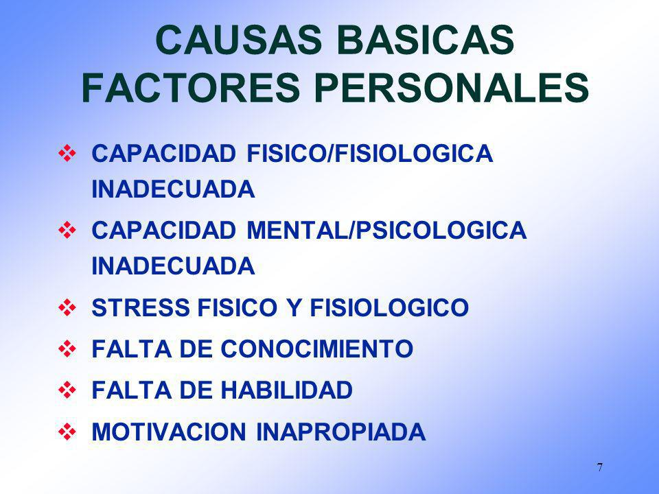CAUSAS BASICAS FACTORES PERSONALES