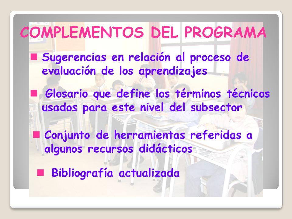 COMPLEMENTOS DEL PROGRAMA