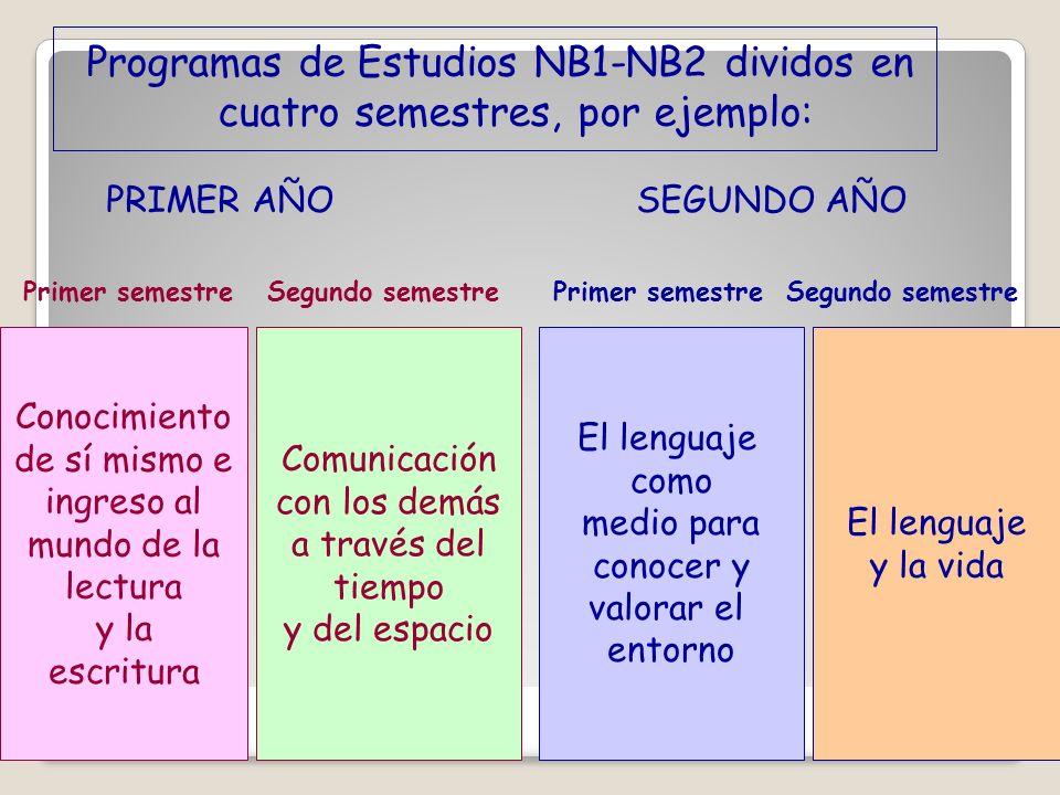 Programas de Estudios NB1-NB2 dividos en cuatro semestres, por ejemplo: