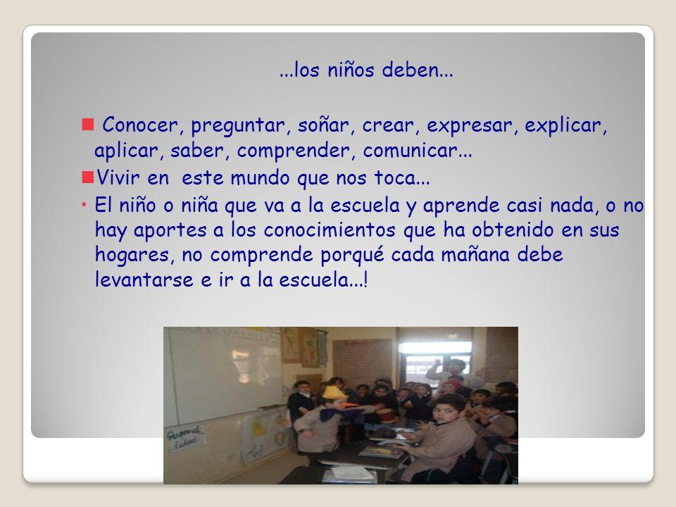 ...los niños deben... Conocer, preguntar, soñar, crear, expresar, explicar, aplicar, saber, comprender, comunicar...