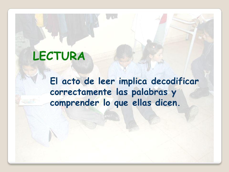LECTURA El acto de leer implica decodificar correctamente las palabras y comprender lo que ellas dicen.