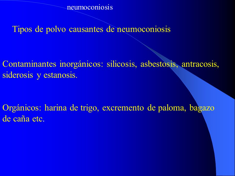 Tipos de polvo causantes de neumoconiosis