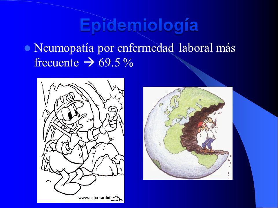Epidemiología Neumopatía por enfermedad laboral más frecuente  69.5 %