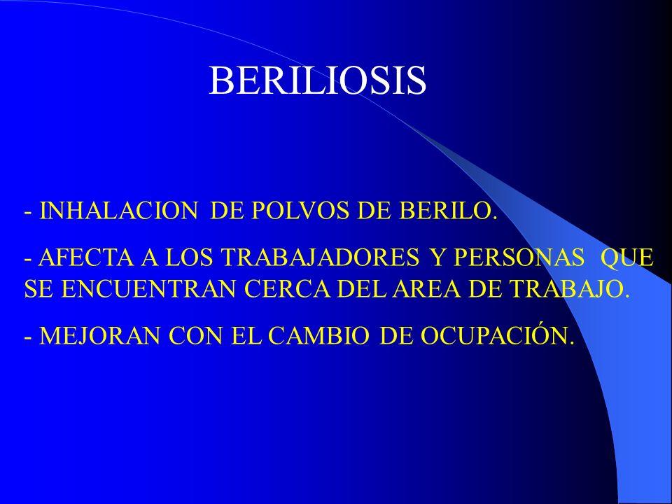 BERILIOSIS - INHALACION DE POLVOS DE BERILO.