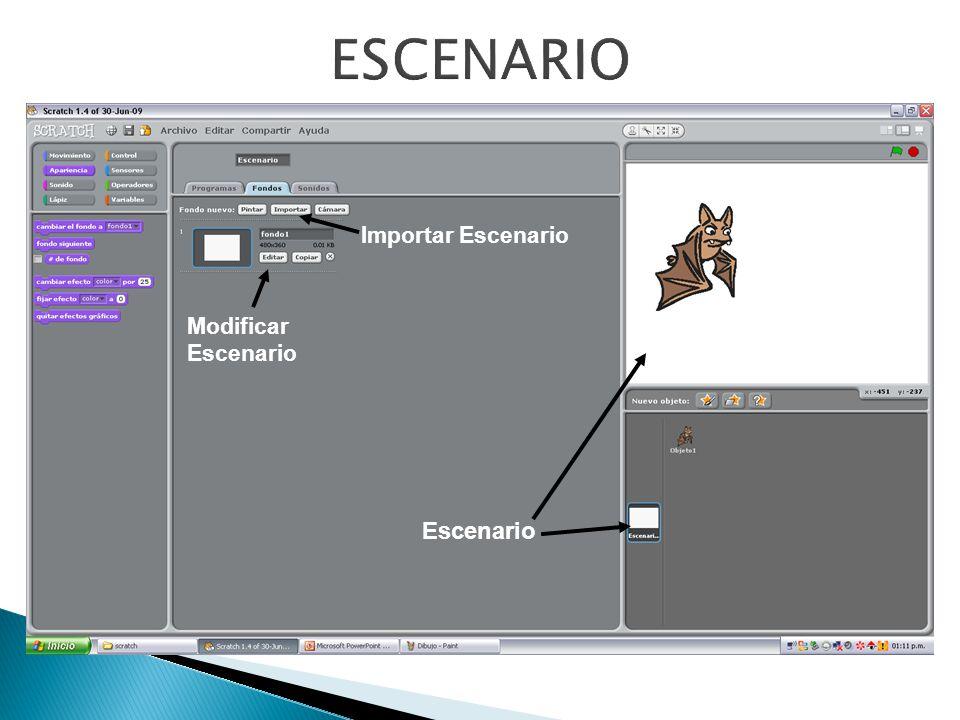 ESCENARIO Importar Escenario Modificar Escenario Escenario