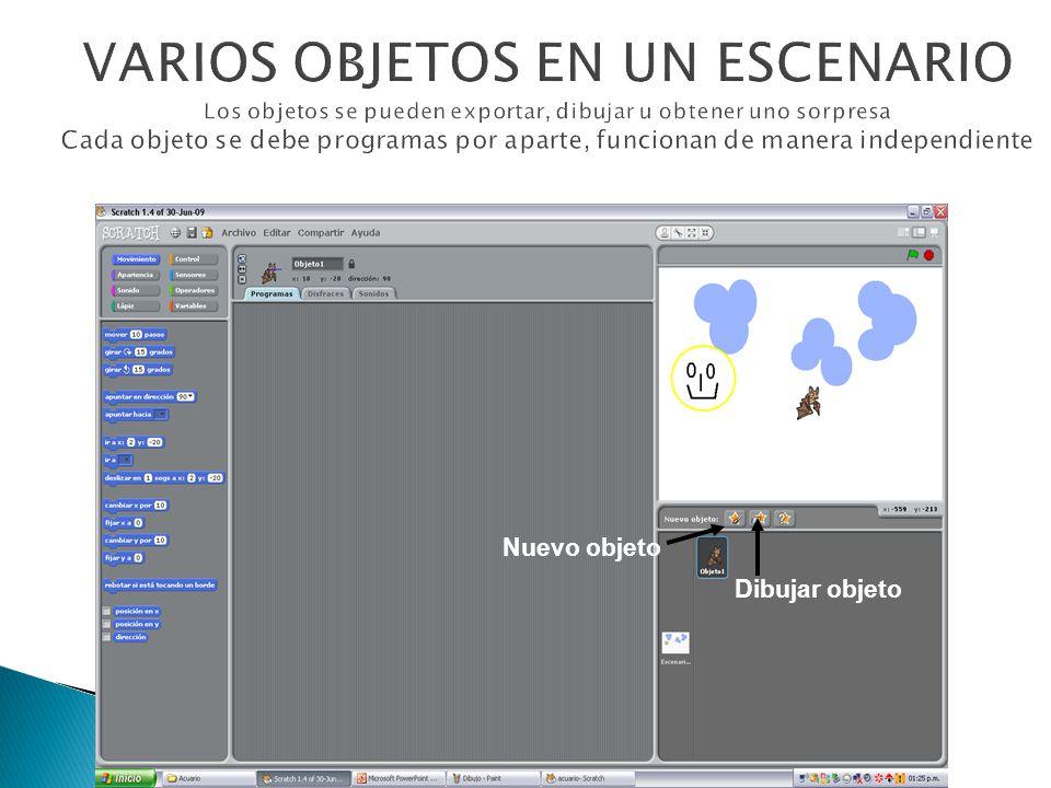 VARIOS OBJETOS EN UN ESCENARIO Los objetos se pueden exportar, dibujar u obtener uno sorpresa Cada objeto se debe programas por aparte, funcionan de manera independiente