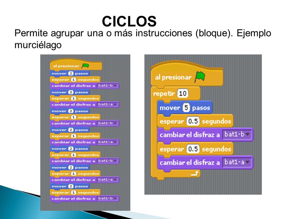CICLOS Permite agrupar una o más instrucciones (bloque). Ejemplo murciélago
