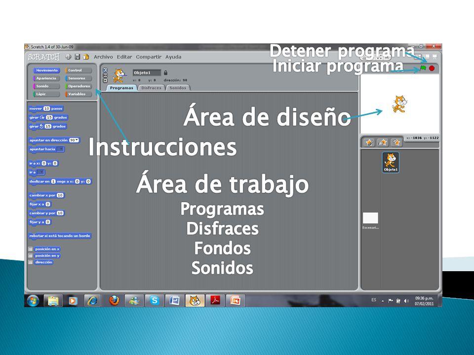 Área de diseño Instrucciones Área de trabajo Detener programa