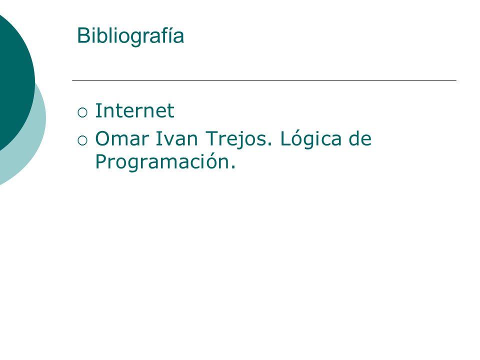 Bibliografía Internet Omar Ivan Trejos. Lógica de Programación.