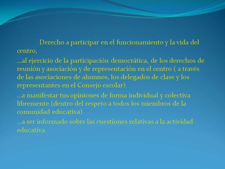 Derecho a participar en el funcionamiento y la vida del centro,