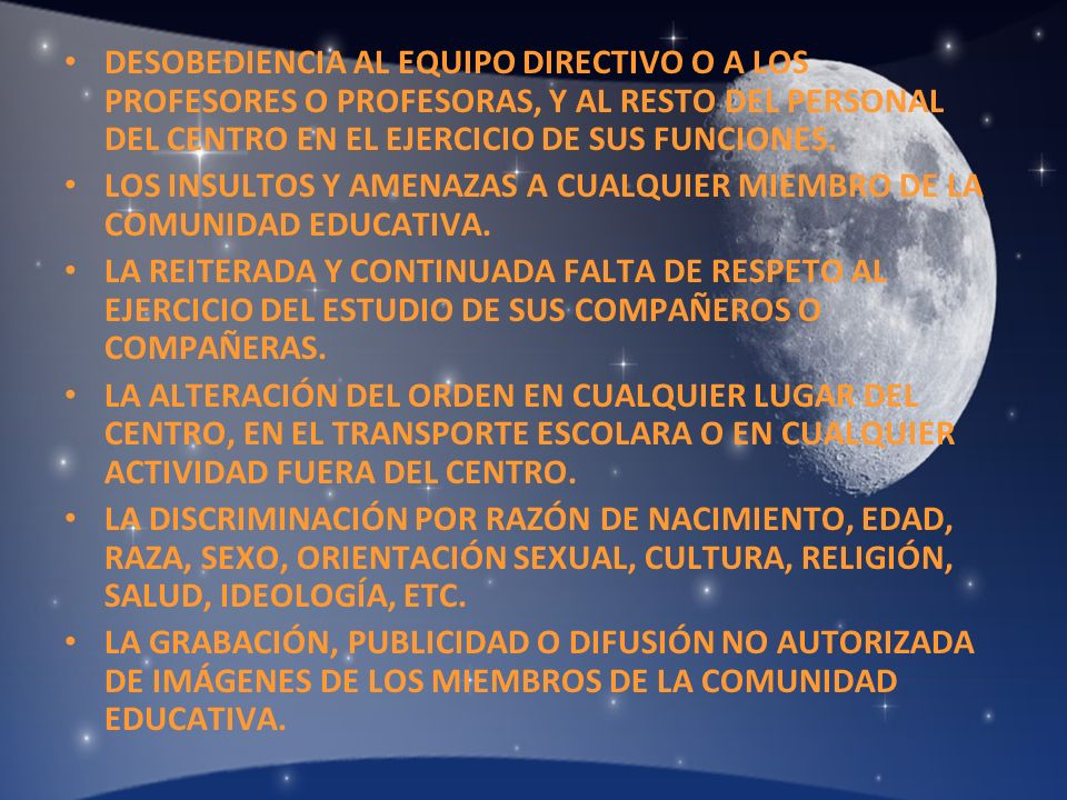 DESOBEDIENCIA AL EQUIPO DIRECTIVO O A LOS PROFESORES O PROFESORAS, Y AL RESTO DEL PERSONAL DEL CENTRO EN EL EJERCICIO DE SUS FUNCIONES.