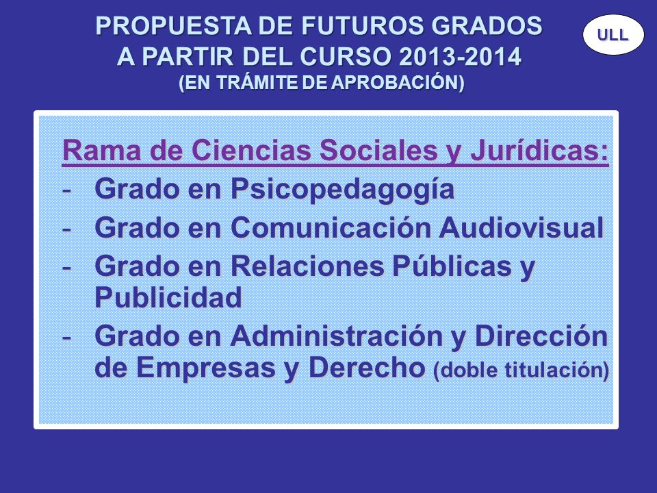 Rama de Ciencias Sociales y Jurídicas: Grado en Psicopedagogía