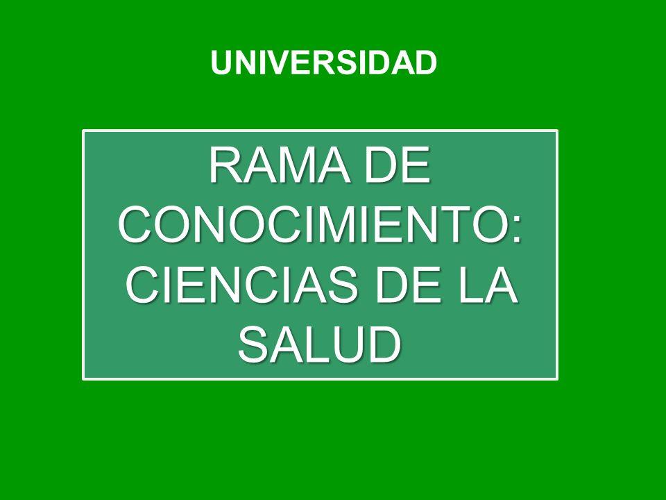UNIVERSIDAD RAMA DE CONOCIMIENTO: CIENCIAS DE LA SALUD