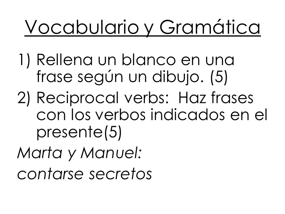 Vocabulario y Gramática