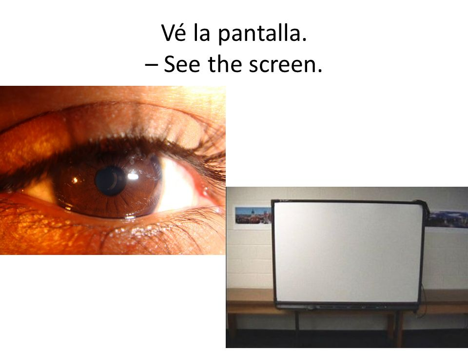 Vé la pantalla. – See the screen.