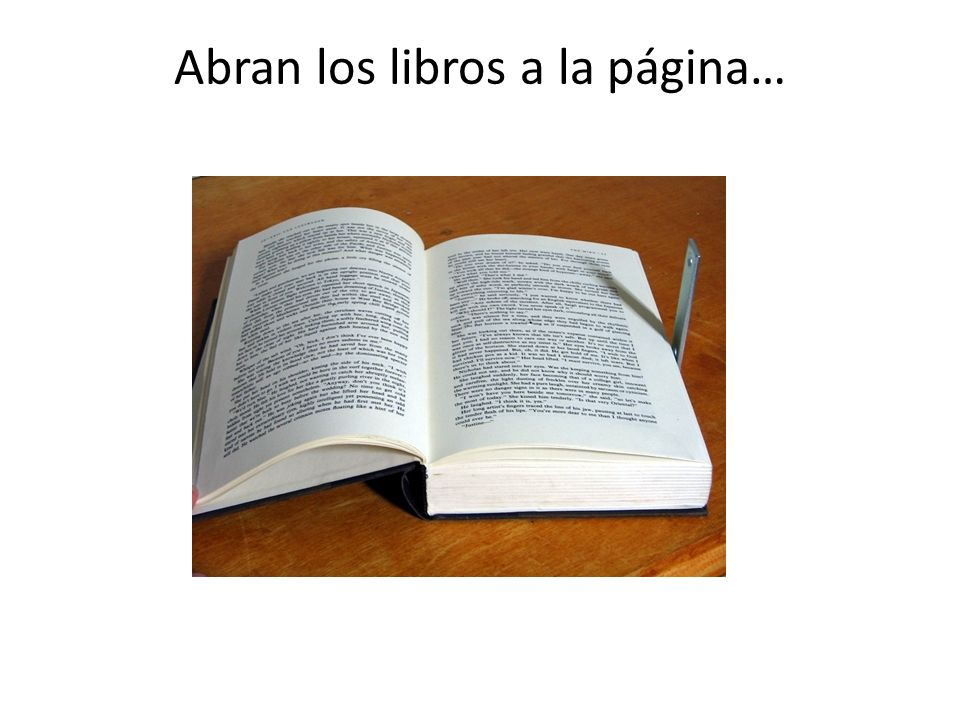 Abran los libros a la página…