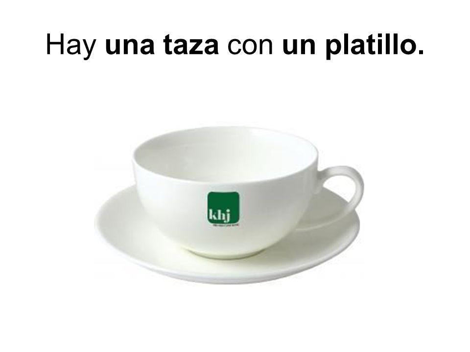 Hay una taza con un platillo.