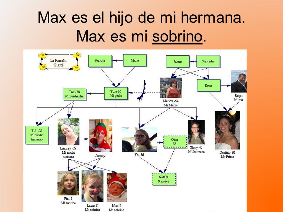 Max es el hijo de mi hermana. Max es mi sobrino.