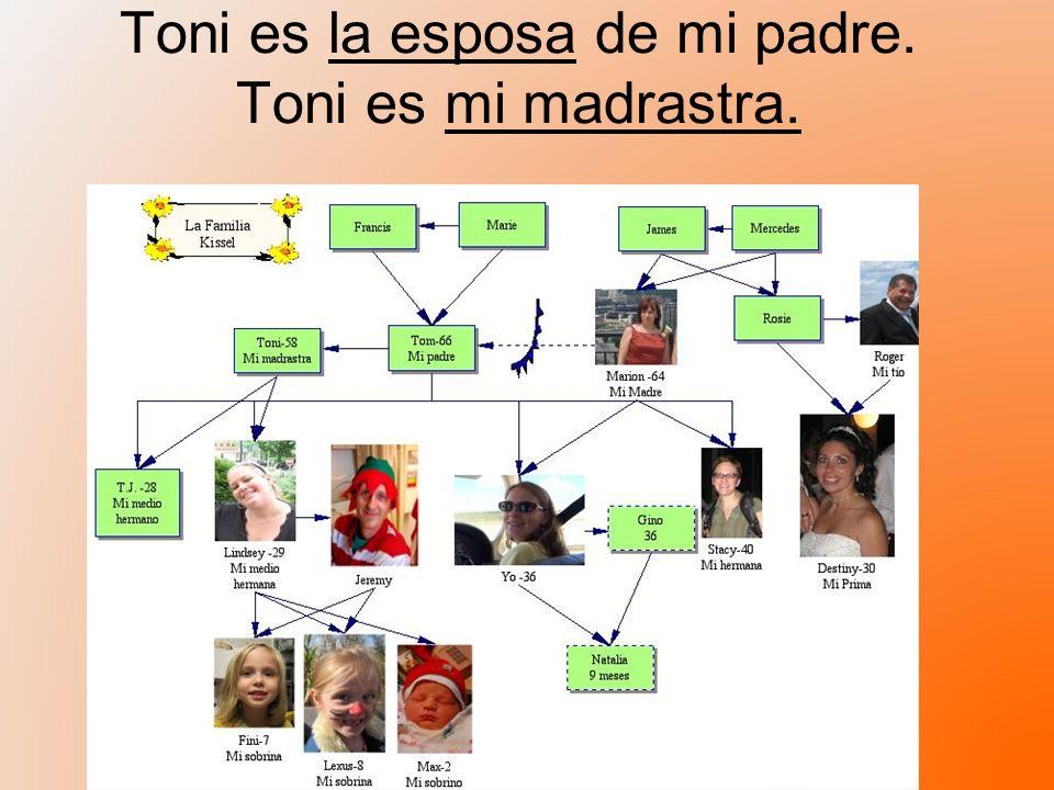 Toni es la esposa de mi padre. Toni es mi madrastra.