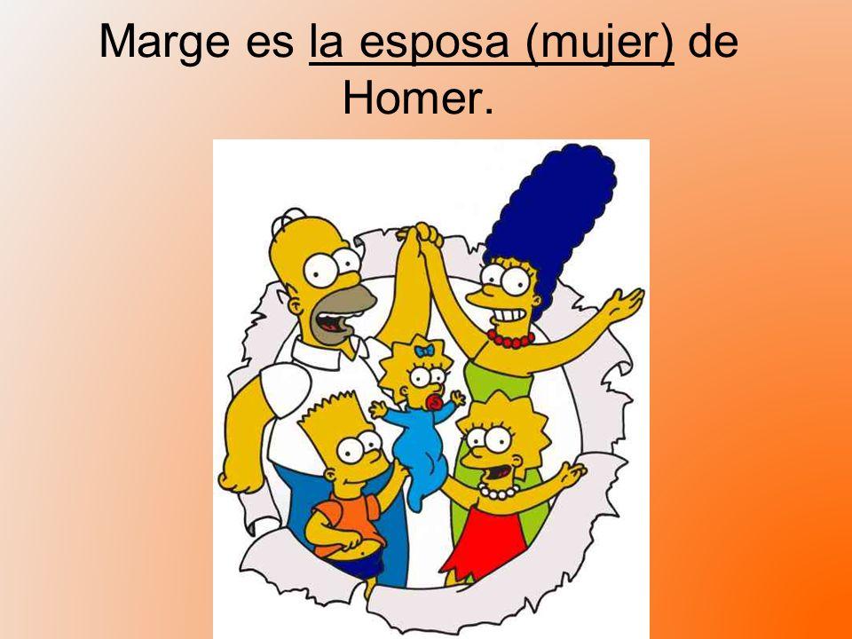 Marge es la esposa (mujer) de Homer.