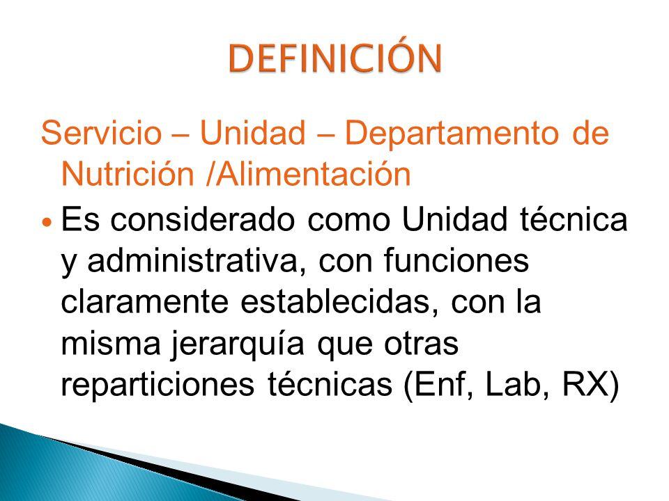 DEFINICIÓN Servicio – Unidad – Departamento de Nutrición /Alimentación