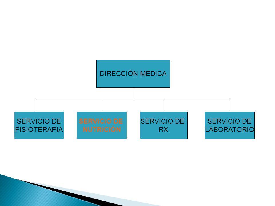DIRECCIÓN MEDICA SERVICIO DE. FISIOTERAPIA. SERVICIO DE. NUTRICIÓN. SERVICIO DE. RX. SERVICIO DE.