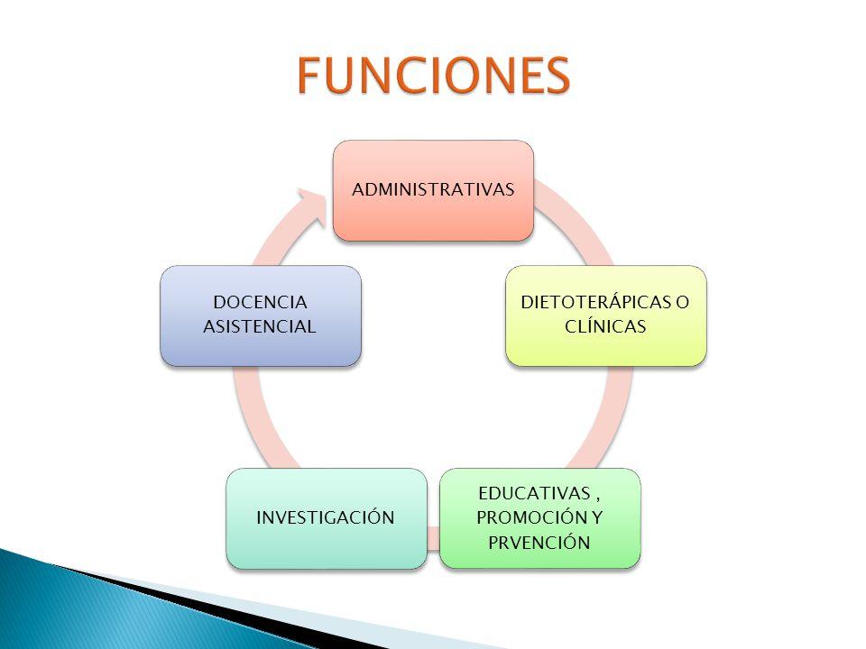 FUNCIONES ADMINISTRATIVAS DIETOTERÁPICAS O CLÍNICAS