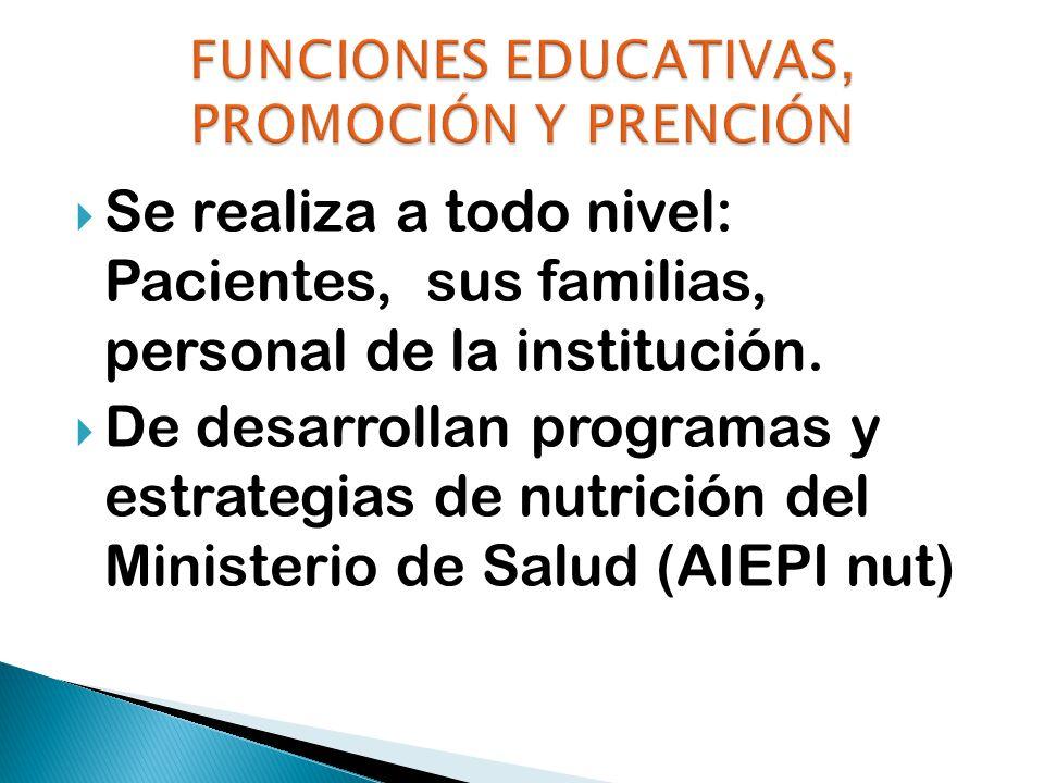 FUNCIONES EDUCATIVAS, PROMOCIÓN Y PRENCIÓN