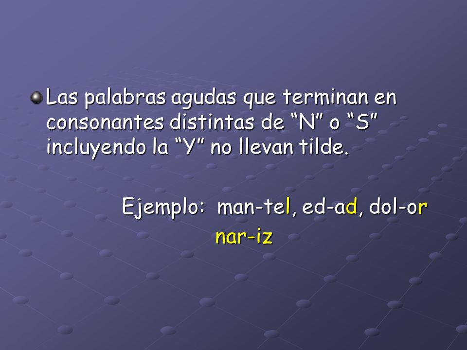 Las palabras agudas que terminan en consonantes distintas de N o S incluyendo la Y no llevan tilde.