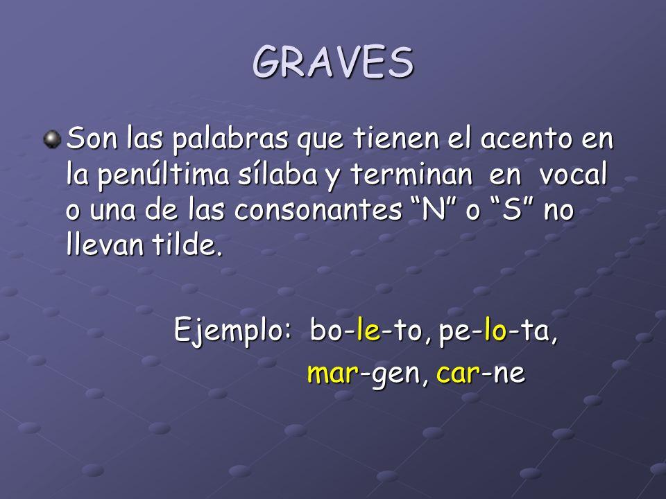 GRAVES Son las palabras que tienen el acento en la penúltima sílaba y terminan en vocal o una de las consonantes N o S no llevan tilde.