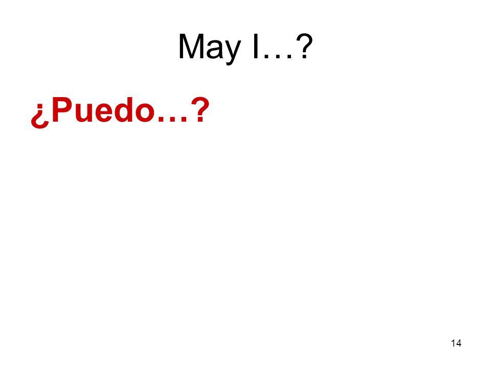 May I… ¿Puedo…