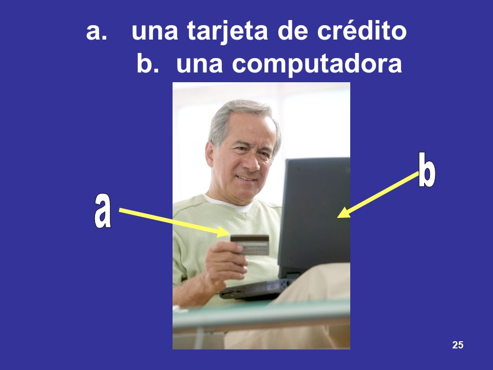 una tarjeta de crédito b. una computadora