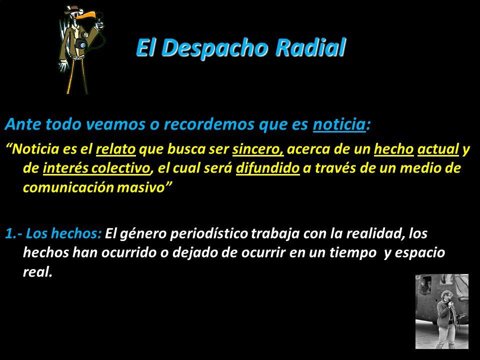El Despacho Radial Ante todo veamos o recordemos que es noticia: