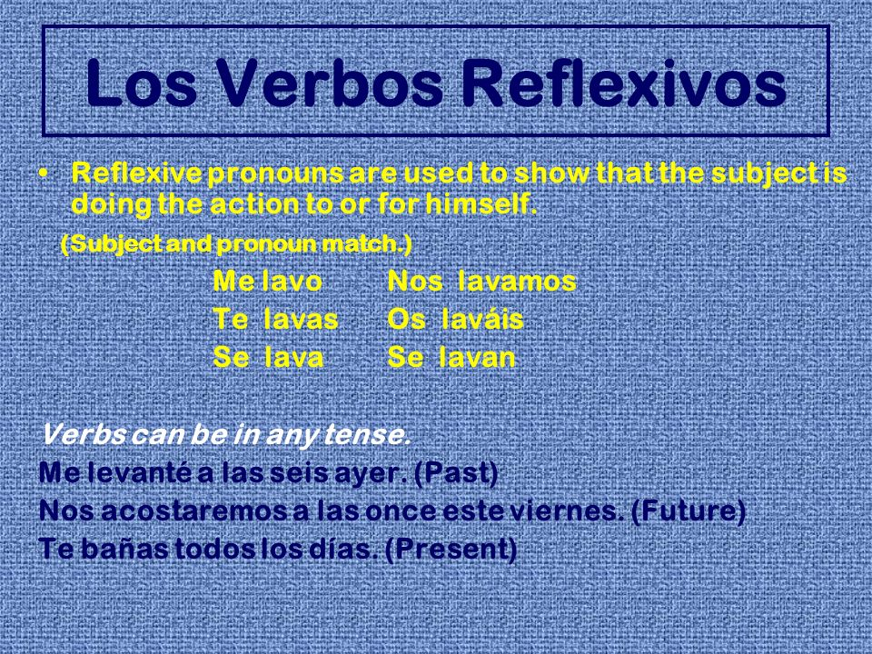 Los Verbos ReflexivosReflexive pronouns are used to show that the subject is doing the action to or for himself.