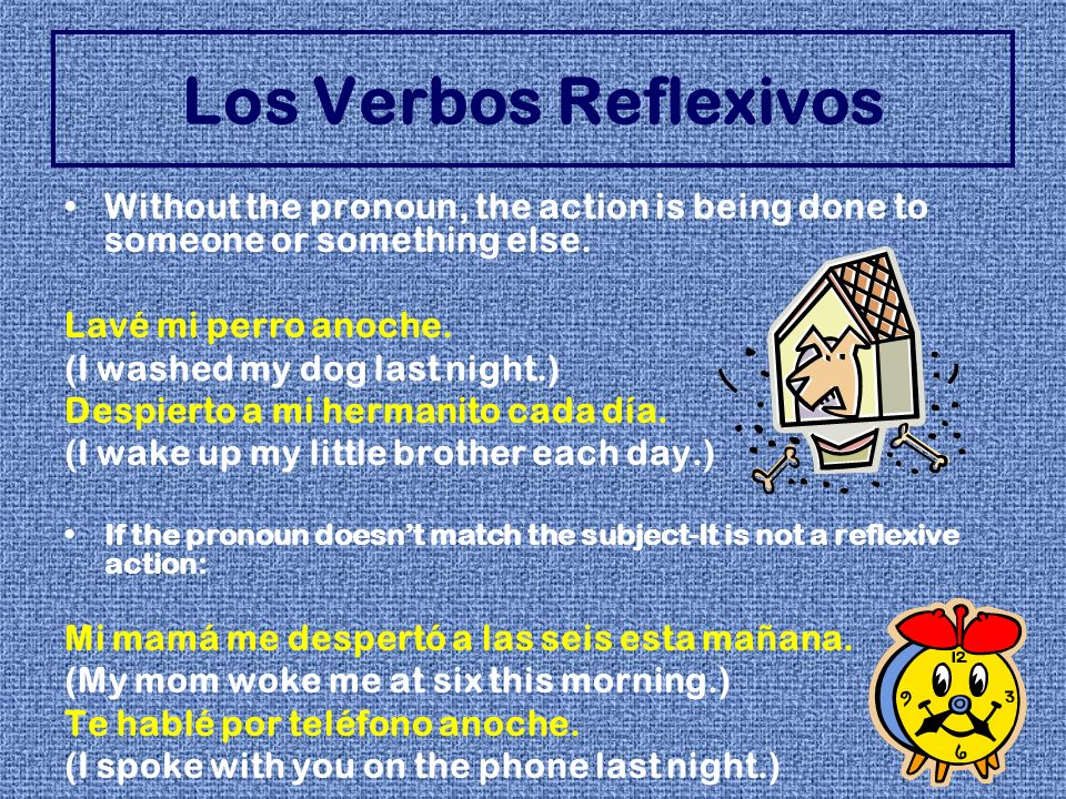 Los Verbos ReflexivosWithout the pronoun, the action is being done to someone or something else. Lavé mi perro anoche.